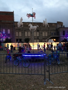 Merry-go-round with bicycles and horse