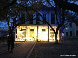 An illuminated porch
