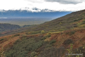 View of the Matanuska Valley and Chugach Range from Sixteen Mile on Hatcher Pass Road.  (Photo by Katie Eberhart)