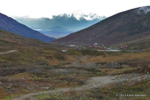 From the trail to Independence Mine: Hatcher Pass Lodge and in the distance the Matanuska Valley and Pioneer Peak.  (Photo by Katie Eberhart)