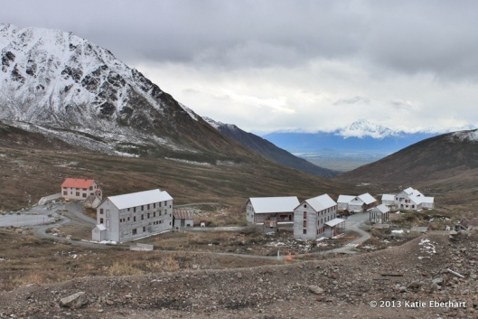 Historic mine buildings. Matanuska Valley in the distance.