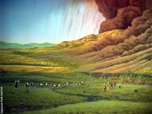 Artist depiction of the Crooked River Caldera.  Image from National Park Service via Deschutes Land Trust.